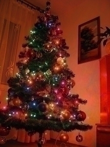 Artificial Christmas tree.